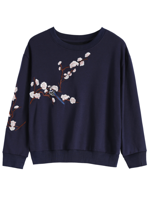 shop Titoni Embroidered Round Neck Sweatshirt - PURPLISH BLUE S Mobile
