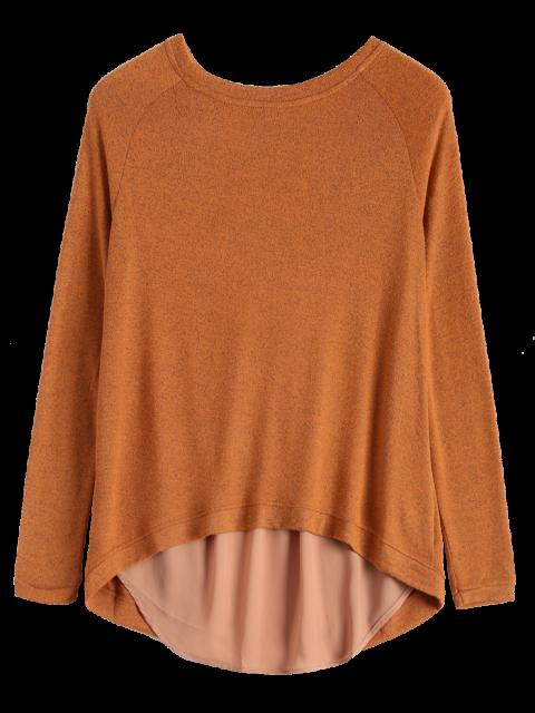 trendy High Low Back Slit Knitwear - CAMEL L Mobile