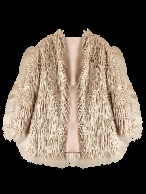 ladies Open Front Fluffy Faux Fur Coat - LIGHT KHAKI L Mobile