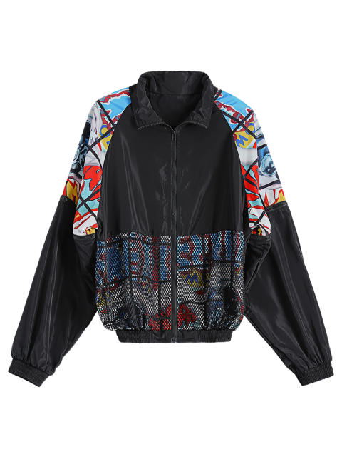 womens Mesh Detail Embroidered Jacket - BLACK ONE SIZE Mobile
