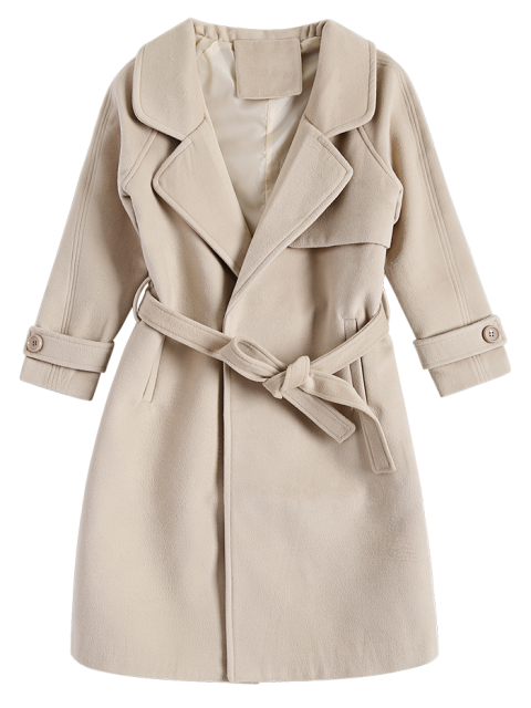 lady Woolen Lapel Collar Belted Coat - KHAKI XL Mobile