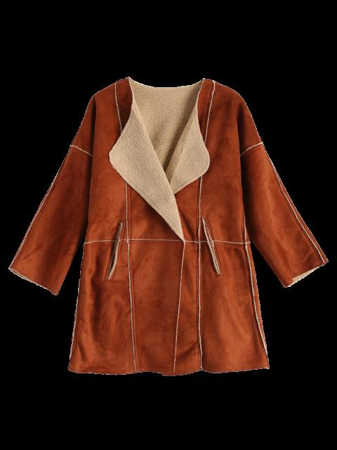 sale Lapel Collar Suede Coat - DEEP BROWN L Mobile