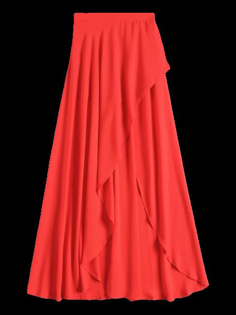 best High Low Hem Long Skirt - RED S Mobile