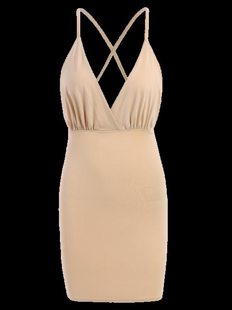 women Women Spaghetti Strap Backless Club Dress - KHAKI XL Mobile