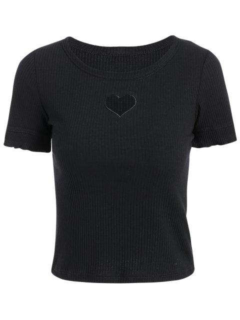 shop Cut Out Round Neck Short Sleeve Slimming T-Shirt - BLACK S Mobile