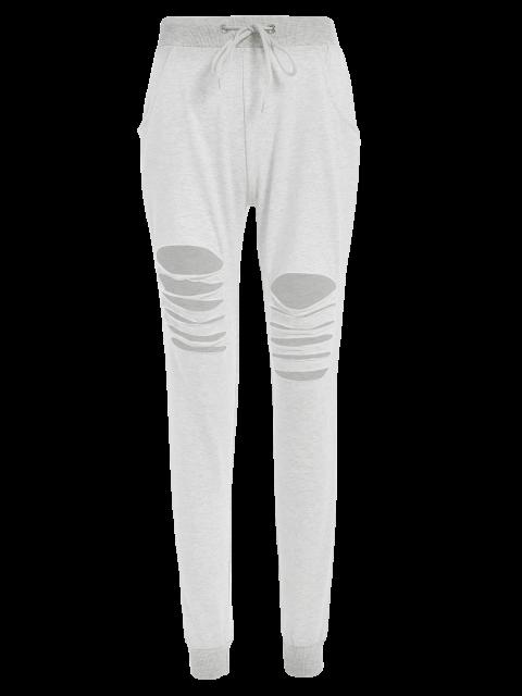 online Drawstring Distressed Pants -   Mobile