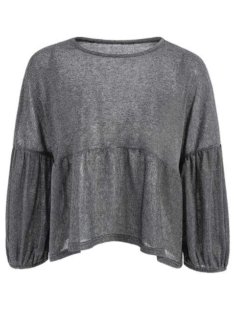 trendy Puff Sleeve Cropped Smock Top - GRAY S Mobile
