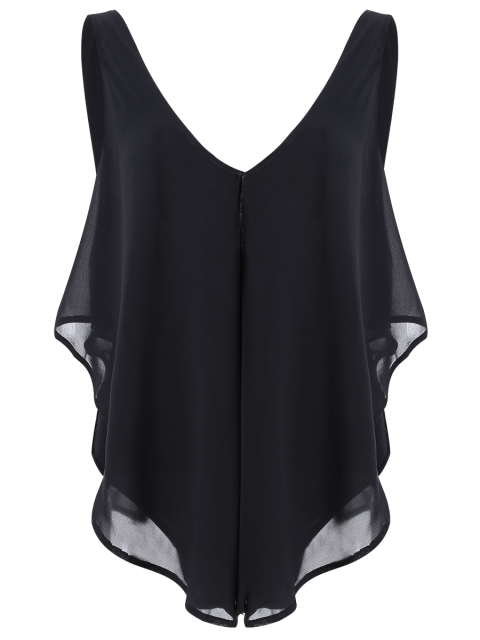 best Plunging Neck Layered Bodysuit - BLACK 2XL Mobile