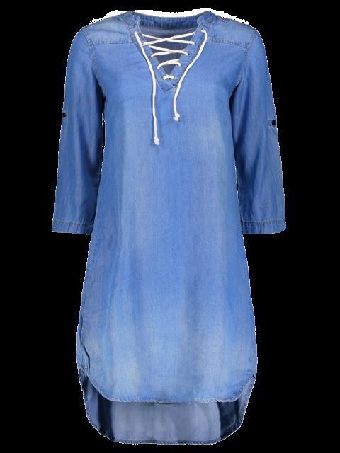 womens Lace Up Denim Tunic Dress - BLUE S Mobile