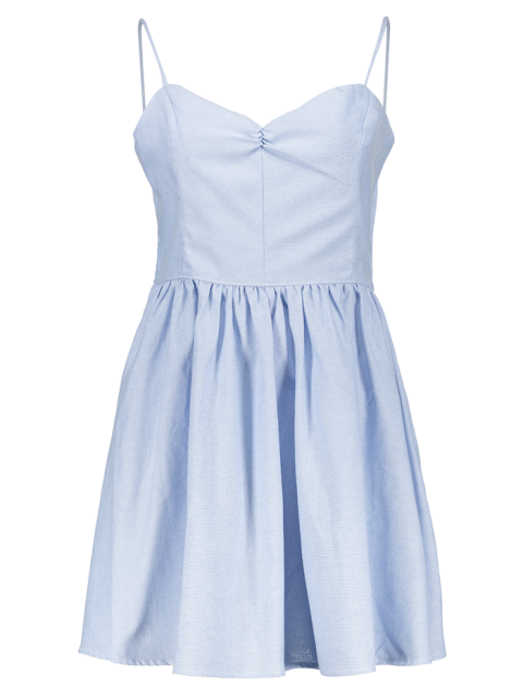 women's Solid Color Lace-Up Spaghetti Straps Sleeveless Dress - LIGHT BLUE XS Mobile