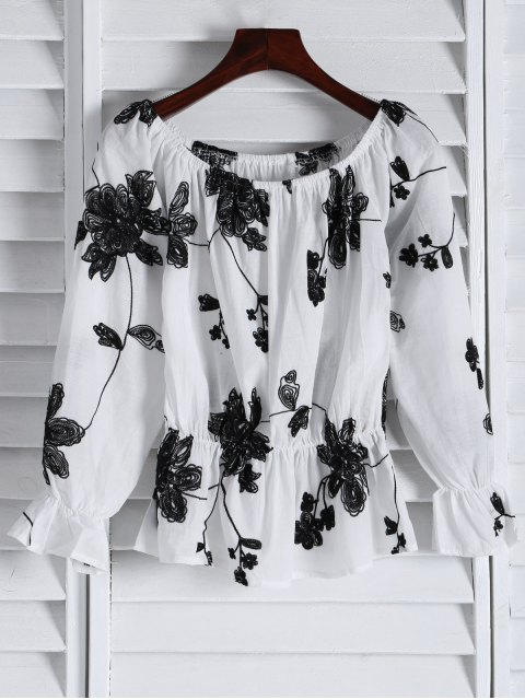 fancy Frilled Embroidered Off The Shoulder Top - WHITE S Mobile