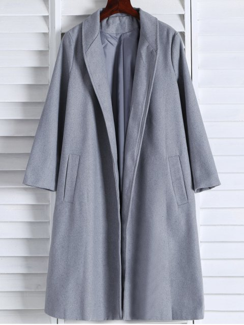 outfits Shawl Neck Gray Wool Coat - GRAY S Mobile