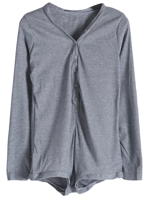 ladies Solid Color Button Design Bodysuit -   Mobile