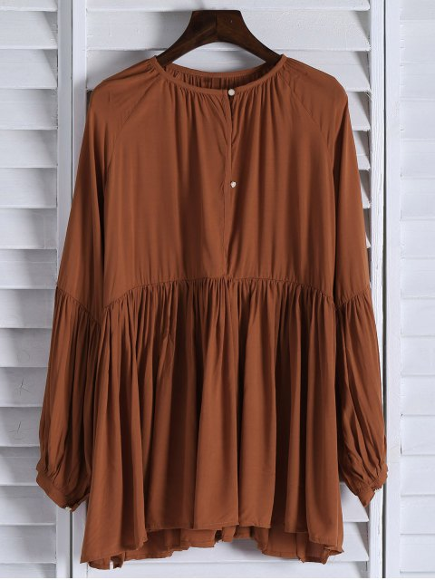 ladies Solid Color Loose Fitting Long Sleeves Blouse - ORANGE XS Mobile
