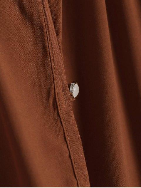 best Solid Color Loose Fitting Long Sleeves Blouse - ORANGE M Mobile