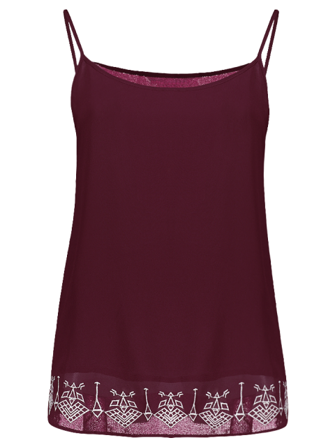 hot Embroidery Spaghetti Straps Tank Top - WINE RED S Mobile