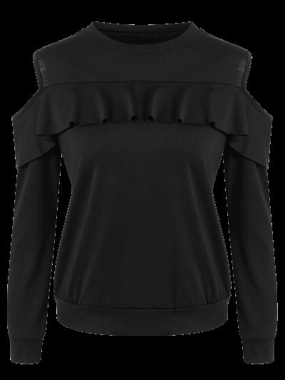 Cut Out Shoulder Ruffles Sweatshirt - BLACK XL Mobile