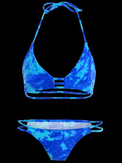 High Cut Lattice Printed Bikini - BLUE L Mobile