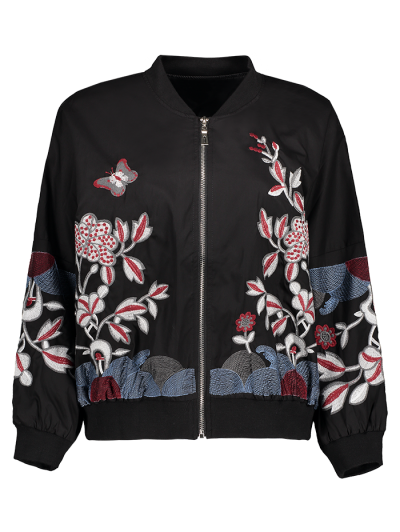 Puffed Sleeve Bomber Jacket - Black