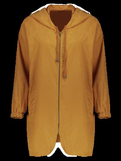 Hooded Zippered Coat - CAMEL L Mobile