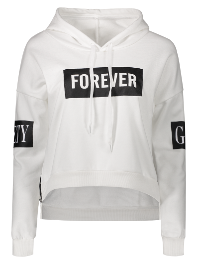 Side Zipper Graphic Patched Hoodie - WHITE ONE SIZE Mobile