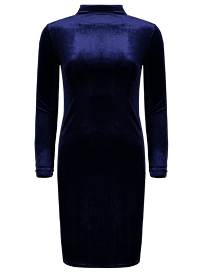 Mock Neck Velvet Mini Bodycon Dress - PURPLISH BLUE ONE SIZE Mobile