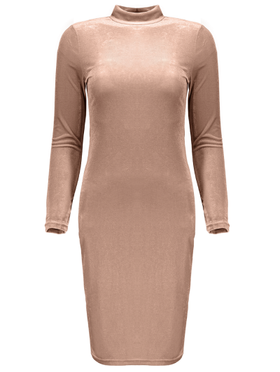 Mock Neck Velvet Mini Bodycon Dress - YELLOWISH PINK ONE SIZE Mobile