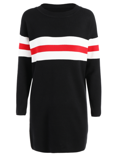 Contrasting Stripe Long Sweater - Black