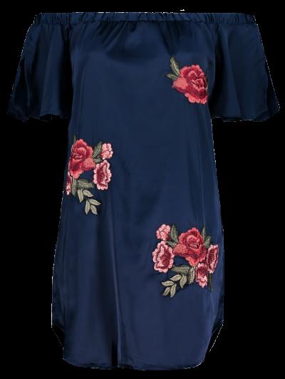 Off The Shoulder Floral Mini Dress - CADETBLUE L Mobile