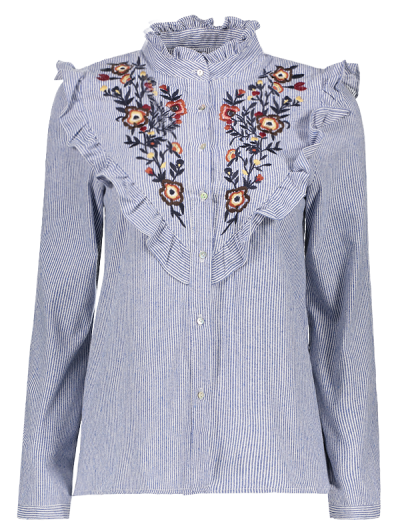 Embroidered Bib Frilled Shirt - BLUE AND WHITE S Mobile