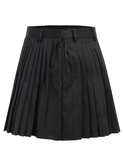 Pleated A-Line Mini Skirt - BLACK S Mobile