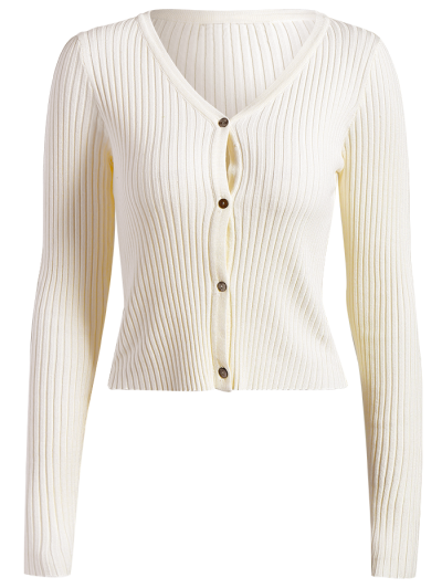 Buttons Cropped Ribbed Cardigan - WHITE ONE SIZE Mobile