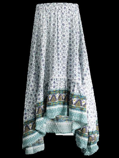 Patterned High Low Maxi Boho Skirt - WHITE L Mobile