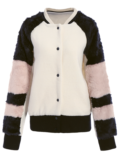 Faux Fur Panel Stand Neck Coat - WHITE L Mobile