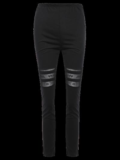 Mesh Panel See Thru Leggings - BLACK XL Mobile