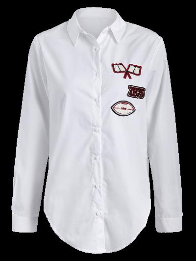 Tied Patch Boyfriend Shirt - WHITE S Mobile