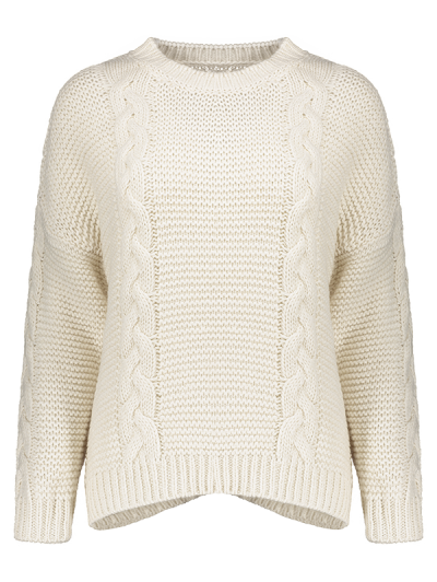 High Low Cable Knit Jumper Sweater - OFF-WHITE ONE SIZE Mobile
