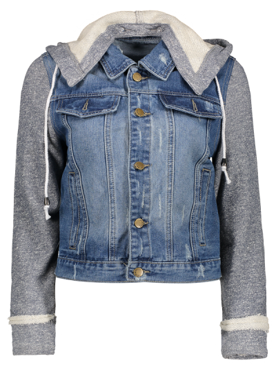 Hooded Denim Jacket - Blue+gray