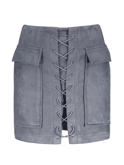 Lace Up Faux Suede Mini Skirt - GRAY L Mobile