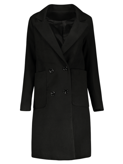 Double Breasted Wool Blend Midi Coat - BLACK L Mobile