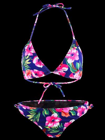 Floral Lace-Up Bikini Set - ROSE RED M Mobile