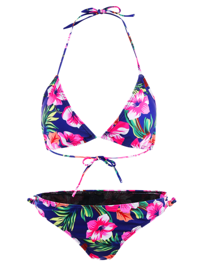 Floral Lace-Up Bikini Set - ROSE RED S Mobile