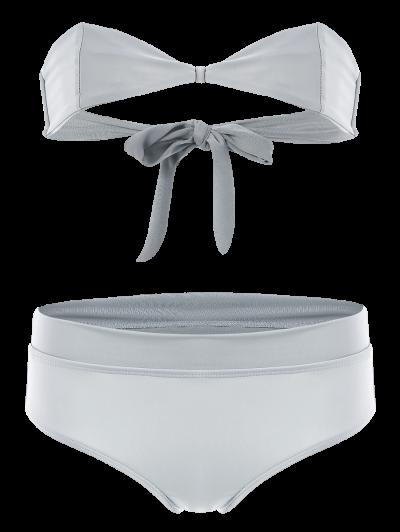 Bandeau Bikini Set - GRAY S Mobile