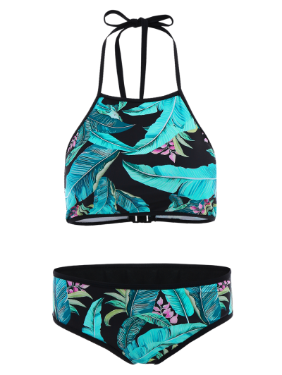 Leaf Patterned High Neck Bikini Set - LAKE BLUE M Mobile