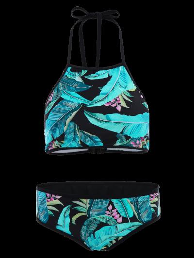 Leaf Patterned High Neck Bikini Set - LAKE BLUE S Mobile