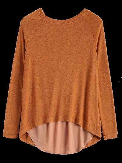 High Low Back Slit Knitwear - CAMEL M Mobile
