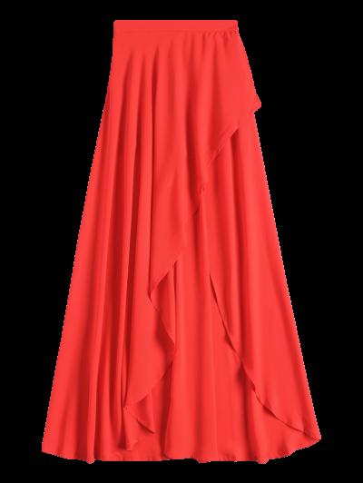 High Low Hem Long Skirt - RED S Mobile