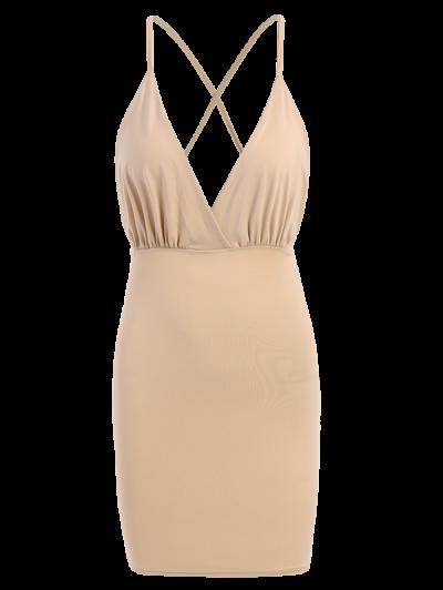Women Spaghetti Strap Backless Club Dress - KHAKI M Mobile