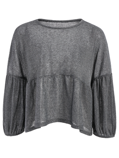 Puff Sleeve Cropped Smock Top - GRAY M Mobile