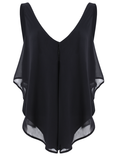 Plunging Neck Layered Bodysuit - BLACK S Mobile